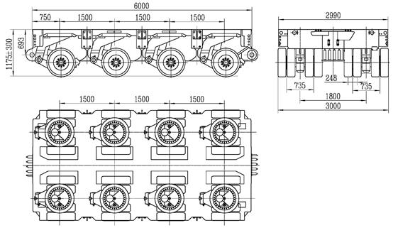 4 axles modular trailer