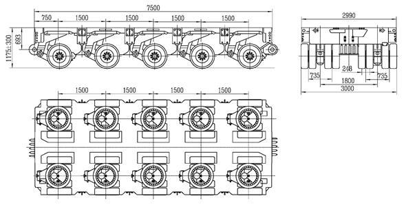 5 axles modular trailer