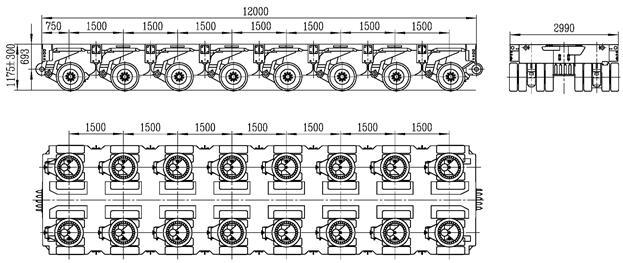 8 axles modular trailer