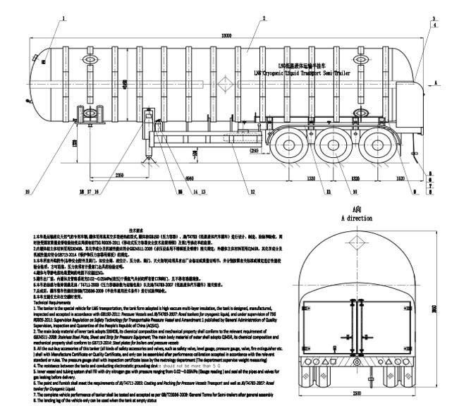 LNG tank trailer drawing