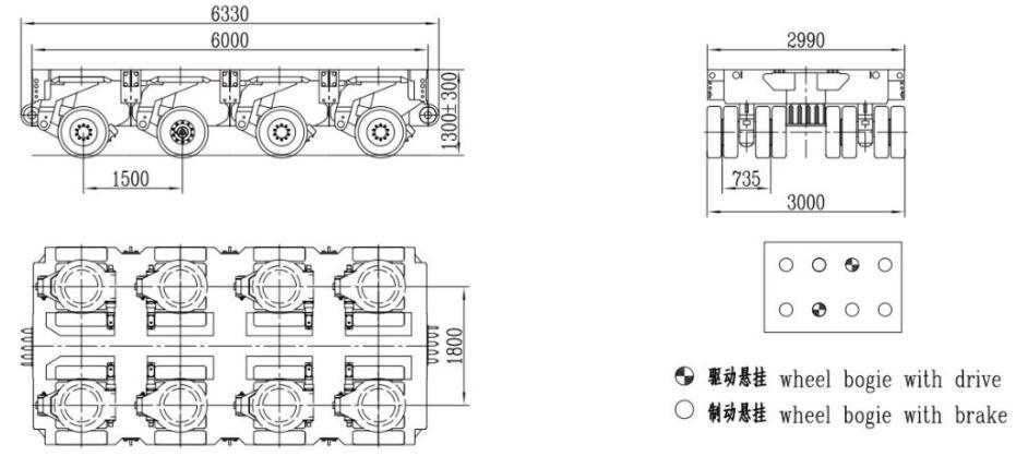 3m width 4 axles spmt