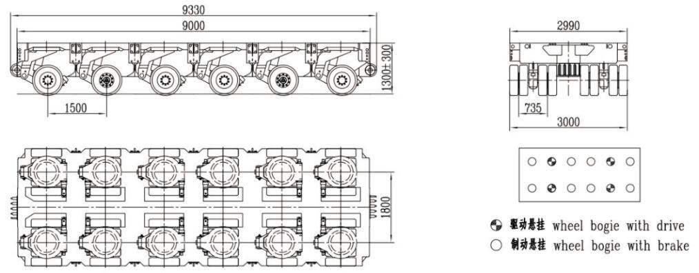 3m width 6 axles spmt